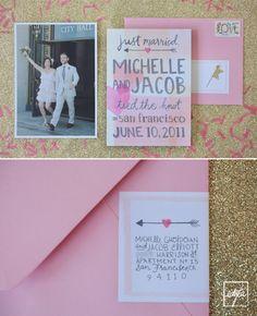 Pink wedding announcement