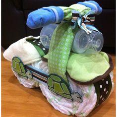 Motorcycle Diaper, more fun than a diaper cake? diaper cakes, motorcycl diaper