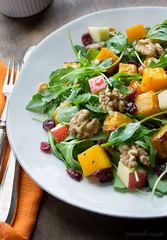 Baby Arugula Butternut Salad with Maple Vinaigrette | @tasteLUVnourish | #salad #arugula #butternut #apple #maple #walnut #healthy #superfoods #vegan #paleo #glutenfree