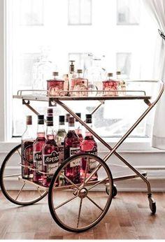 Girly & Glam bar cart via Snippet & Ink