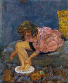 pierre bonnard(1867-1947), woman washing her feet, 1894. oil on canvas, 41.59 x 33.66 cm. private collection http://www.wikipaintings.org/en/pierre-bonnard/woman-washing-her-feet-1894