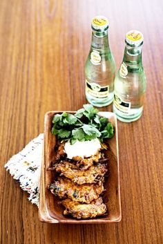 crispy carrot fritters with cilantro and creme fraiche