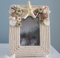 beaches, beach bedrooms ideas, shell art diy, rope frame, bathroom mirror, picture frames, diy beach, pictur frame, beach decorations