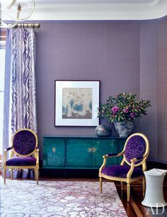 architectural digest, jamie drake, purple wallpaper, purple velvet chairs, purple rug, purple drapes