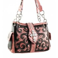 Western Cross Purse with Brown and Pink Accents