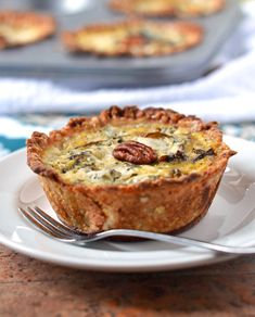 Mini Quiches with Caramelized Pears and Gorgonzola.