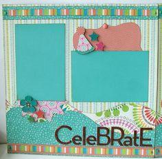 12x12 scrapbook layouts | Celebrate Premade 2 Page 12x12 Scrapbook Layout