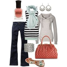 coral & mint, created by #htotheb on #polyvore. #fashion #style #BKE Old Navy