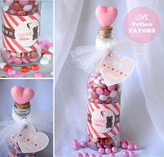 Fill a glass bottle with Valentine's Day candy and follow the directions on this blog to create an adorable love potion Valentine's Day gift!