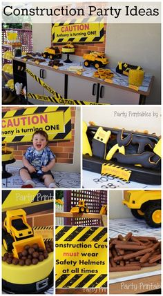 Great party ideas for a construction 1st boy birthday including birthday cake, party signs, and dessert table! See more party ideas at CatchMyParty.com. #construction #boybirthday #partyideas #1stbirthday