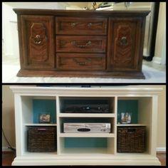 Refinished dresser into tv stand Dresser Into Tv Stand, Leg, Dressers Into Tv Stands, Refinish Dressers, Tv Stand Dresser, Refinishing Dressers, Dresser Tv Stand, Refinished Dressers