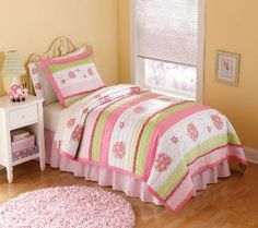 Crazy Pink Ladybug Bedding  This sweet pink ladybug bedding set features   bright bands of pink and lime green and cute   pink ladybugs on a white background.