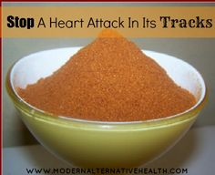 """What natural remedy can you use to """"stop a heart attack in its tracks?""""    Cayenne!    Cayenne is a very effective stimulant, stimulating every system and cell of the body.  It feeds the heart, cleanses the circulatory system, strengthens the pulse, increases circulation to the brain, plus has many, many other benefits.    There are 2 ways to take cayenne for heart attacks, in powdered form or tincture form. To make your own cayenne tincture see post :)"""