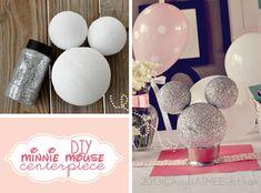 DIY Minnie Mouse Centerpiece, Glitter Minnie Mouse Centerpiece
