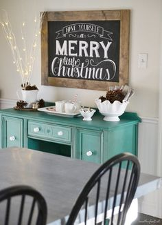 Paint the buffet this pretty blue and do the white knobs? Probably gonna have to