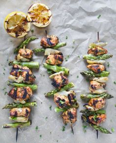 Moroccan Lemon Herb Chicken Skewers with Artichokes and Asparagus
