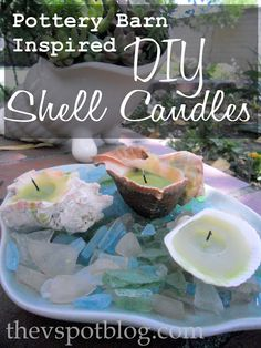 The V Spot: Make your own Pottery Barn style Shell Candles picket fences, shell candl, pottery barn inspired, potteri barn, style shell, sea, crafty home, pottery barn style, spot