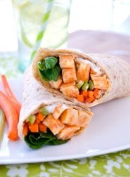Try a chicken sandwich with a little bit of kick. This Buffalo chicken wrap gives you all the great flavors of Buffalo wings without the fat. There's even blue cheese, celery and carrots. #hearthealthy #diabetic #recipe
