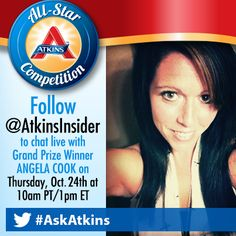 This year's All-Star Competition Grand Prize Winner is a mother of three who lost 119 pounds on Atkins! Tune in to her live Twitter chat to learn her tips and tricks! https://twitter.com/AtkinsInsider