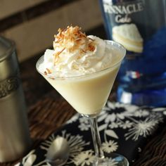 Better Than Sex Caketini.......cake flavored vodka, pineapple juice, coconut milk creamer, French vanilla pudding mix, whipped cream and toasted coconut