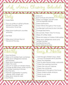 Free printable cleaning checklists.