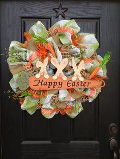 HAPPY EASTER mesh wreath by GlitzyWreaths on Etsy, $130.00