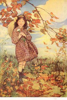 autumn leaves, willcox smith, art, wilcox smith, book illustrations, children books, cuckoo nest, jessi willcox, jessi wilcox