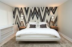 could I diy this zig zag wall paper look? wallpaper by Walnut, room by Freudenberger