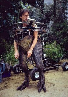 John Rosengrant, an effects artist for the movie, wears a raptor half-suit for Jurassic Park III.
