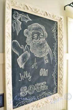 Holiday chalkboard art… decor, chalkboards, christma chalkboard, holiday chalkboard, empty frames, christmas, craft idea, chalkboard art, blog