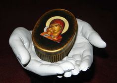 Icon of Virgin Mary on handpainted hard board oval box!