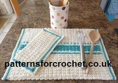 Free crochet pattern for Kitchen Towel and Dishcloth from http://www.patternsforcrochet.co.uk/kitchen-towel-dishcloth-usa.html #freecrochetpatterns #crochet #patternsforcrochet