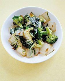 Bok Choy with Broccoli - I added sauteed mushrooms and a bit of teriyaki sauce. Yum! Served over quinoa.