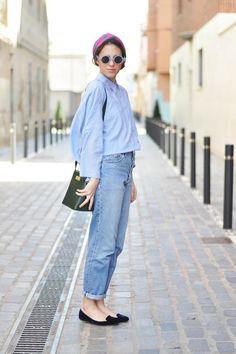 boyfriend jeans, fashion, blue, outfit, double denim, street styles, la labarcelona, mom jeans, black
