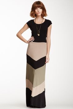 Bobeau Chevron Stripe Maxi Skirt