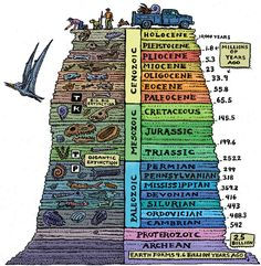 Geology graphic, time travel, illustrations, dinosaurs, fossils, geolog time, rocks, earth science, kid