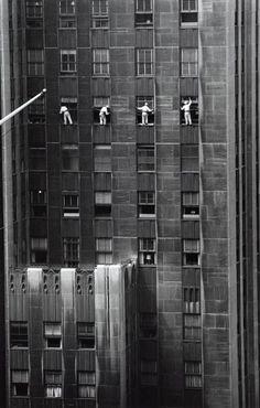 window washer, 1958, street window, white, windows, new york city, black, york citi, ing morath