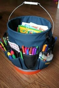 "DIY PORTABLE ART STATION FOR KIDS - Clever idea using a 5 gallon paint bucket and a ""bucket jockey"" from tool section to create storage for colouring books, drawing pads, etc., along with various drawing tools (markers, crayons, coloured pencils, etc.)"