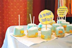 Goldfish Marshmallow pops at a Dr. Seuss Party #drseuss #party