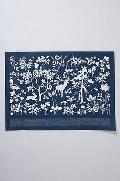 Flora and fauna navy print