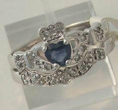 Sapphire Claddagh Engagement/Wedding Rings