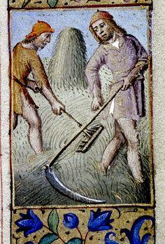 Men scythe and rake hay. Calendar-June. French c. 1470-80. bodl_Liturg.41 |