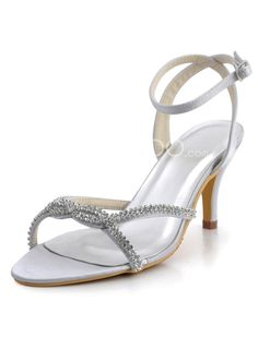 Sexy White Satin Rhinestone Bridal Sandals. See More Wedding Sandals at http://www.ourgreatshop.com/Wedding-Sandals-C922.aspx