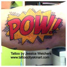 Tattoo City Skin Art- Lockport, IL. Tattoo By: Jessica Weichers pow_comic_book_lettering_tattoo_by_jessica_weichers.j...