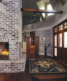 White Washed Pine Walls and fireplace