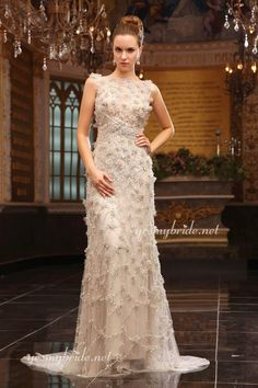 Exquisite Sequins Light Cream Boat Neck Low Back Sweep Train Evening Dress Only for $1,200.00 #wedding #bride #bridalgowns #gowns #weddingdress
