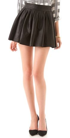 Great Alice + Olivia leather skater skirt