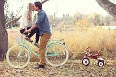 So cute! I'd have J riding the trike and another little one trailing behind with the chalkboard due date on the ground in the front babies stuff, chalkboard baby announcement, babi idea, babies announcements, baby announcements, babi announc, baby announcing, announc idea, baby announcement bike