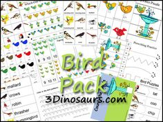 Free Bird Pack for ages 2 to 7 from 3Dinosaurs.com. Over 50 pages of activities.