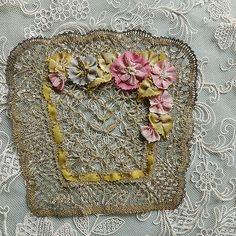 Antique, French metallic lace doilie
